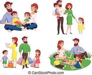 Family Retro Cartoon Style Set