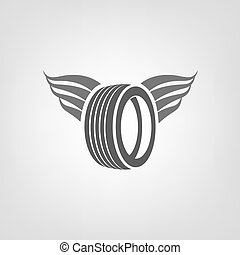 Tire Shop Logo - Car tire icon with wings in grey colours...