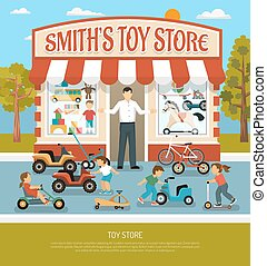 Toy Shop Flat Background - Kids store products children toy...