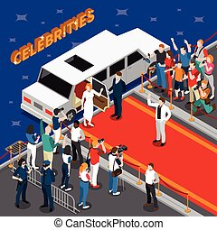 Celebrities On Red Carpet Isometric Composition -...