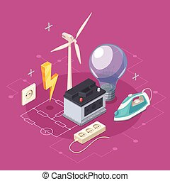 Electricity Isometric Concept - Electricity isometric...