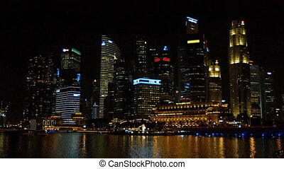 Singapore's night time cityscape. Contrasting architecture....