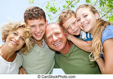 happy smiling family - portrait of happy smiling family...