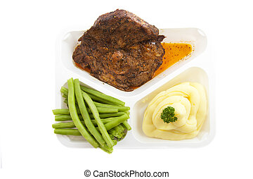 Prepared meal - Special plate with healthy menu isolated...