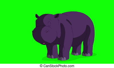Little Violet Hippo Wakes Up and Open His Mouth. Animated...