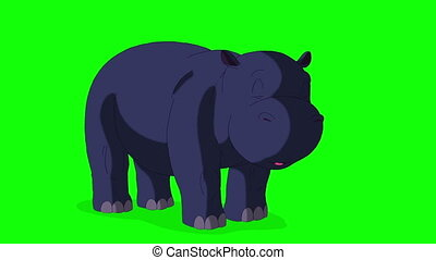 Little Blue Hippo Wakes Up and Open His Mouth. Animated...