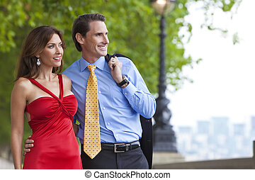 Romantic Man and Woman Couple in London, England
