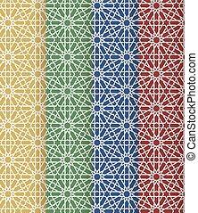Seamless islamic Moroccan pattern set. Arabic geometric...