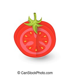 tomato dissect icon and food vector