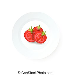 dissect tomato icon vector on dish
