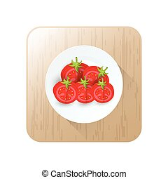 dissect tomato icon vector on button