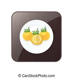Tomato dissect  Yellow Color icon and button