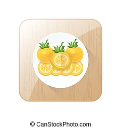 Tomato dissect  Yellow Color icon set and button