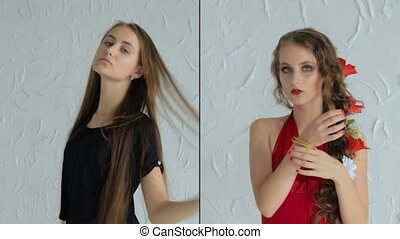 Teen girl before and after makeup - Make up concept: teen...