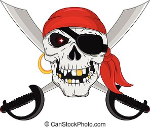Pirate skull and crossed swords - vector illustration of...