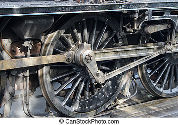 Close up of Driving Wheels of a Vintage Steam Engine - Close...