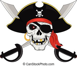 Basic RGB - vector illustration of Pirate skull and crossed...