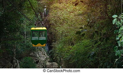 Suspended Cable Car Approaches Datanla Waterfall near Dalat,...
