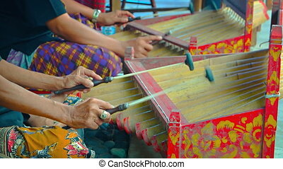 Musicians playing traditional Balinese instruments. Video...