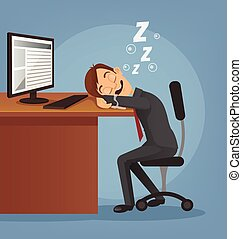 Sleeping happy smiling office worker man character. Vector...