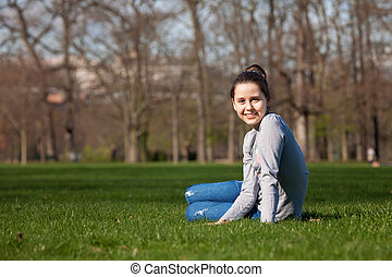 Tween girl in the meadow - Young girl in the meadow