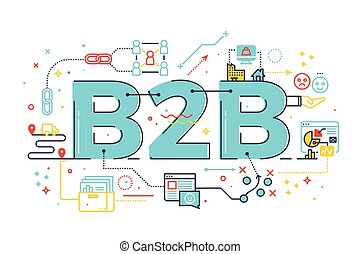 B2B : Business to business, word illustration