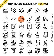 Fancy vikings game icons - Fancy vikings game concept...