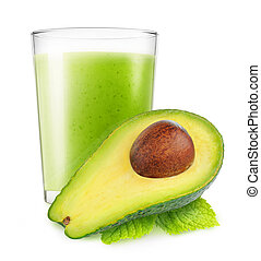 Isolated avocado smoothie - Isolated vegetable smoothie....