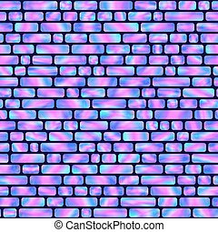 Seamless Pattern of Blue and Pink Holographic Rectangles.
