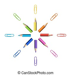 Octagonal Star of Realistic Colorful Pencils and Paperclips...