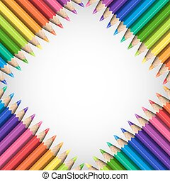 Quadratic Frame of Realistic Colorful Pencils on White...