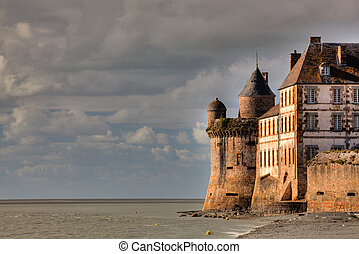 Mont Saint - Michel - View on the atlantic ocean and church...