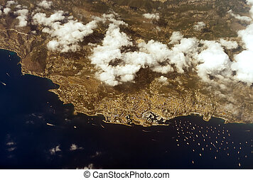 Aerial view of Principality of Monaco.