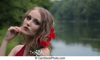 Slow motion shot. Portrait of mysterious girl with creative...