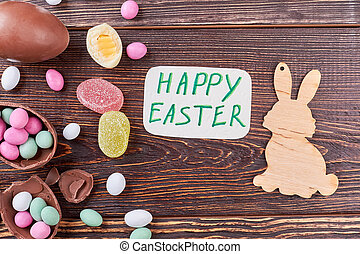 Candies with Easter greeting card.