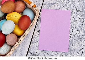 Easter egg basket, empty card.
