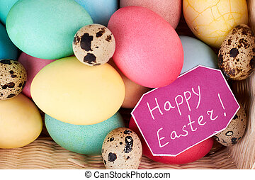Happy Easter card, bright eggs. Chicken and quail eggs.