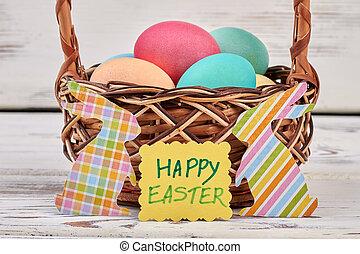 Happy Easter card, egg basket.