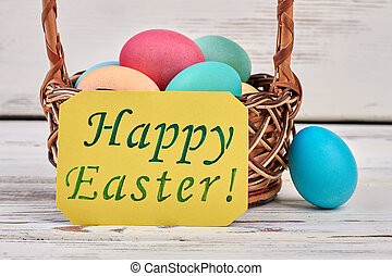 Happy Easter card, colorful eggs. Greeting card on white...