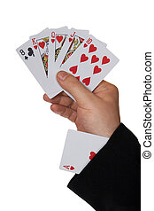Cards in hand and ace in sleeve, isolated on white...