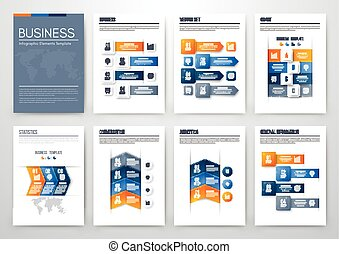 Set with infographics. Data and information visualization....