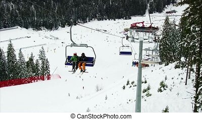 Chair lift in the mountains
