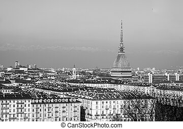 City of Turin Torino skyline panorama seen from the hill -...
