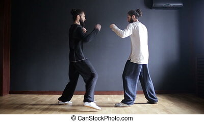 Twin brothers practicing tai chi blows in the training hall.
