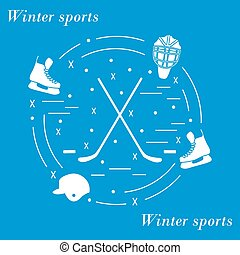 Vector illustration of various subjects for hockey arranged in a circle.