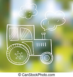 Hand-drawn tractor, in a cartoon style, the primitive subjects of agriculture, black contour on summer background