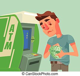 Man character receive and count money near ATM. Vector flat...