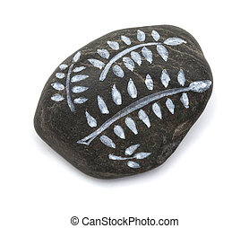 pebble painting - lava pebble with floral design on white...