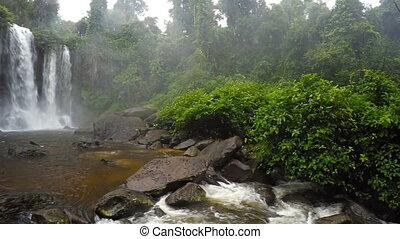 Whitewater Roars over Waterfall at Phnom Kulen, Cambodia,...