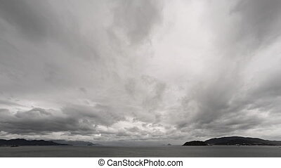 Abstract Timelapse Clip of Dense Clouds Scuttling across a...